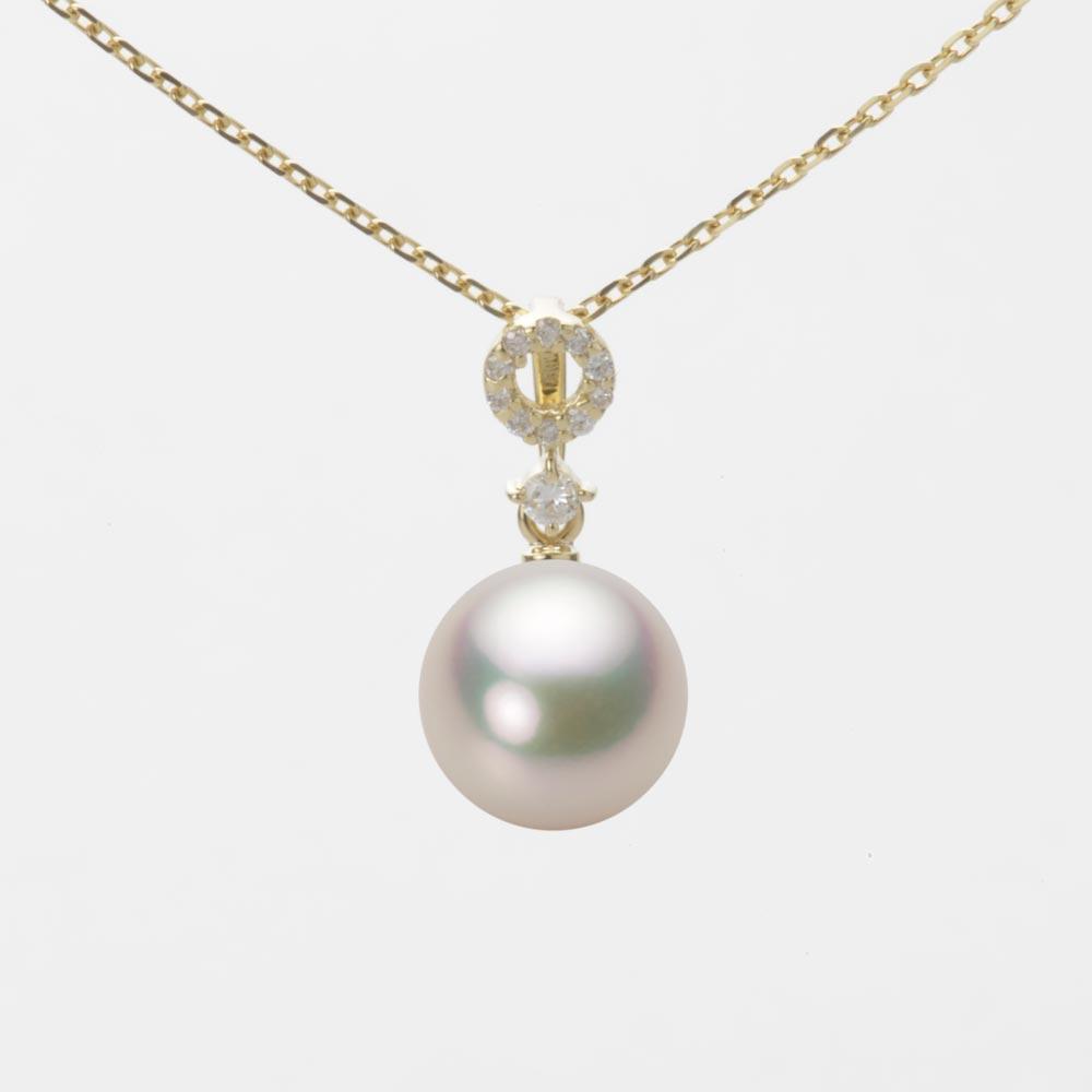 あこや真珠 パール ネックレス 8.0mm アコヤ 真珠 ペンダント K18 イエローゴールド レディース HA00080R11CW01474Y