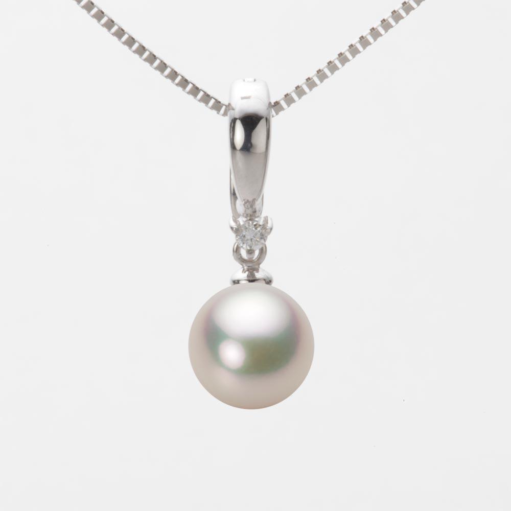 あこや真珠 パール ネックレス 8.0mm アコヤ 真珠 ペンダント K18WG ホワイトゴールド レディース HA00080R11CW0334W0