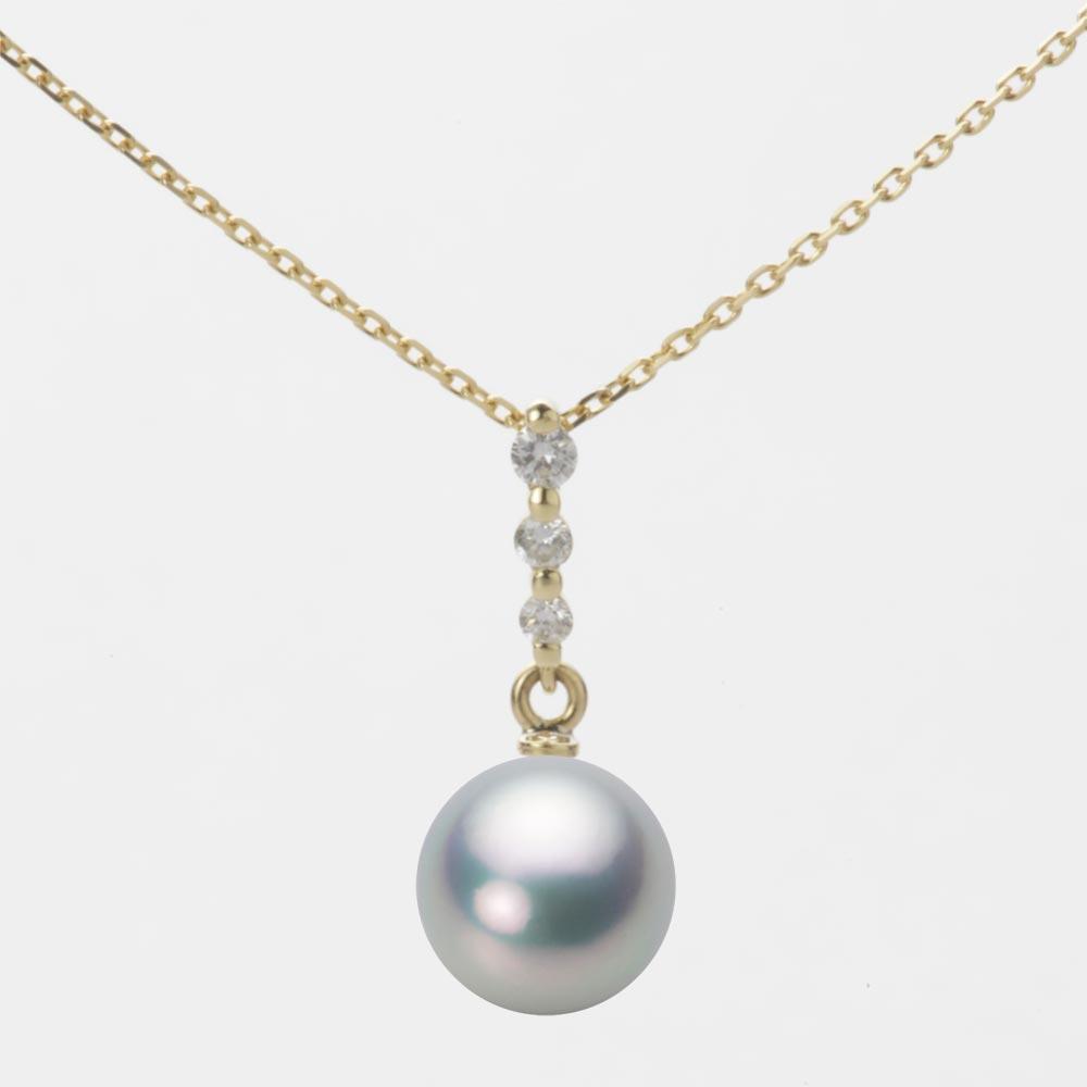 あこや真珠 パール ネックレス 8.0mm アコヤ 真珠 ペンダント K18 イエローゴールド レディース HA00080R11SG0797Y0