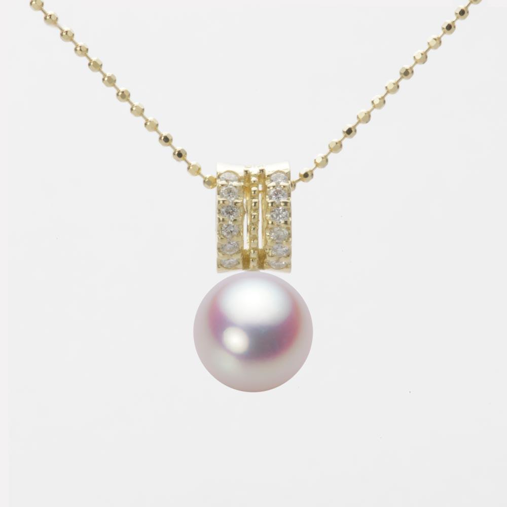 あこや真珠 パール ネックレス 8.0mm アコヤ 真珠 ペンダント K18 イエローゴールド レディース HA00080R11WPN1278Y