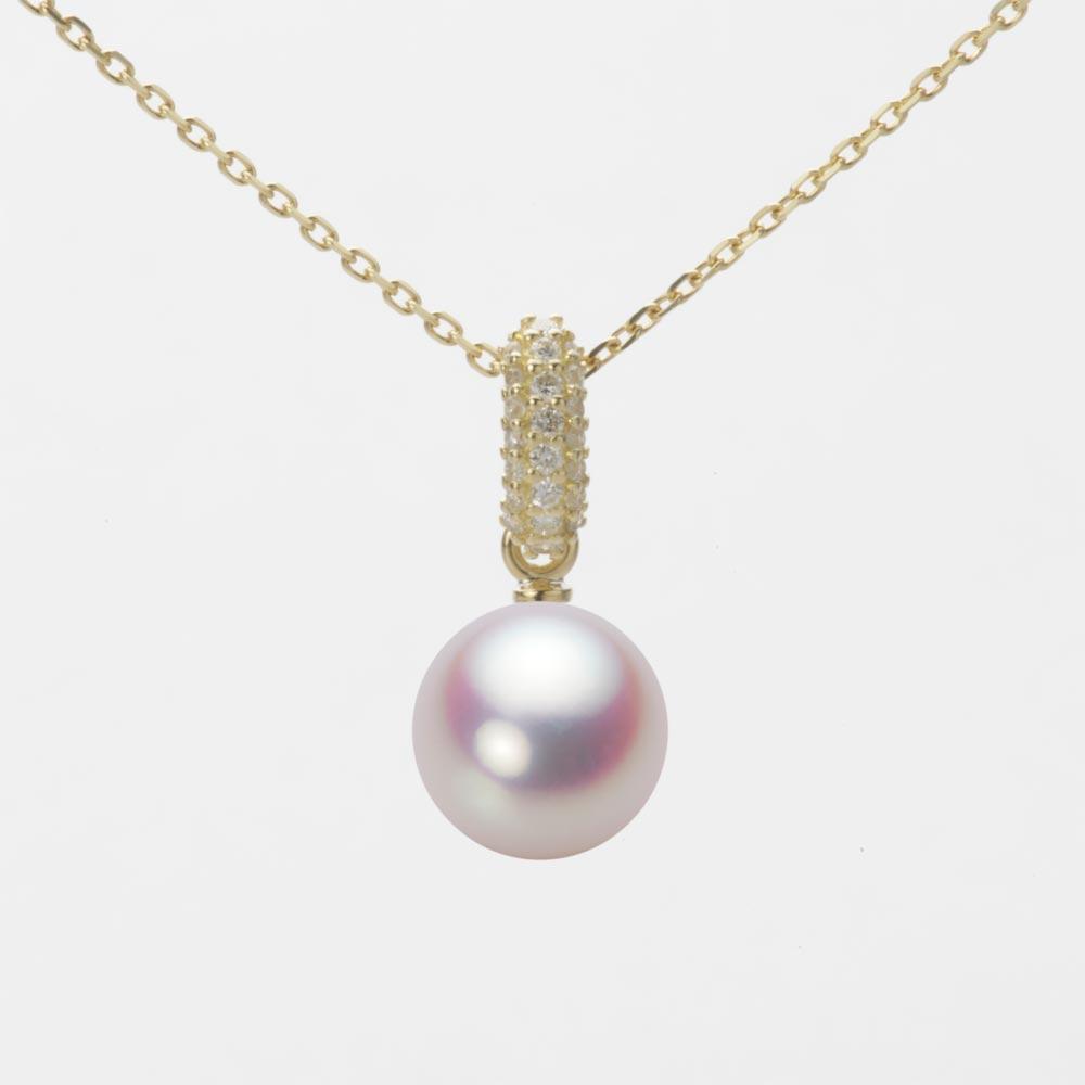 あこや真珠 パール ネックレス 8.0mm アコヤ 真珠 ペンダント K18 イエローゴールド レディース HA00080R11WPN1489Y