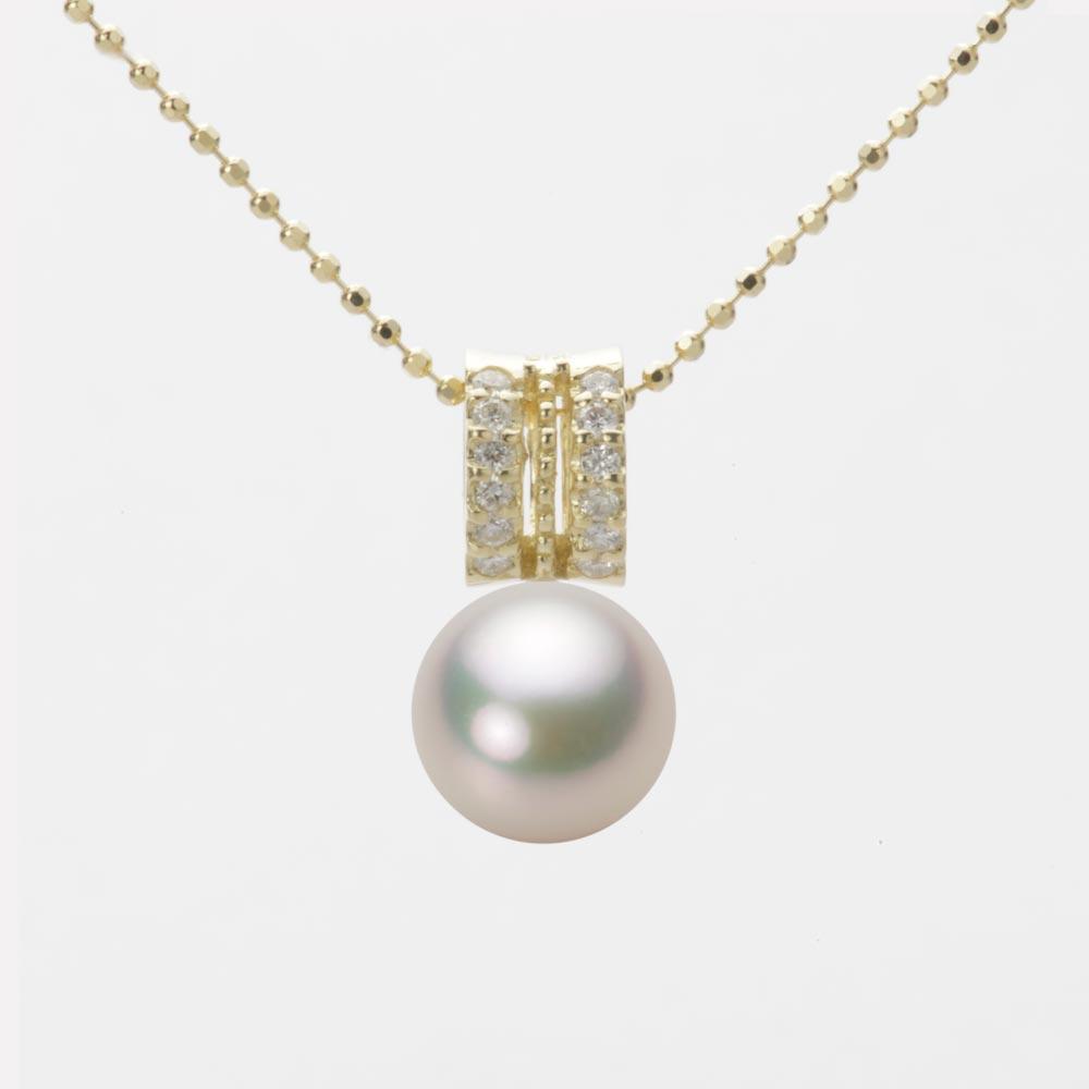 あこや真珠 パール ネックレス 8.0mm アコヤ 真珠 ペンダント K18 イエローゴールド レディース HA00080R12CW01278Y
