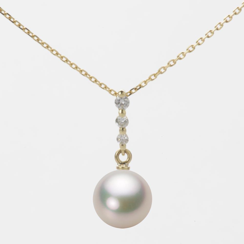あこや真珠 パール ネックレス 8.0mm アコヤ 真珠 ペンダント K18 イエローゴールド レディース HA00080R12CW0797Y0