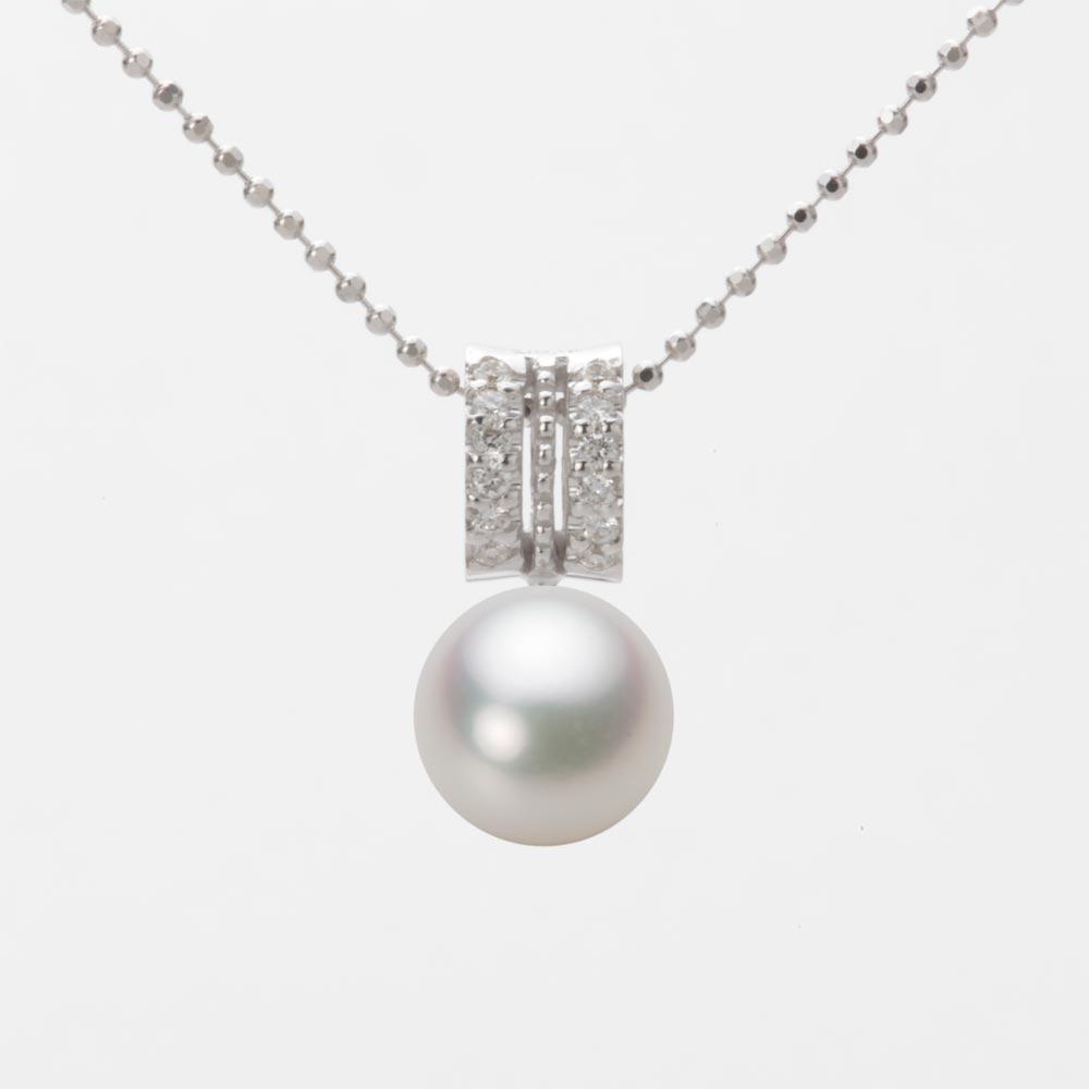 あこや真珠 パール ネックレス 8.0mm アコヤ 真珠 ペンダント K18WG ホワイトゴールド レディース HA00080R12NW01278W