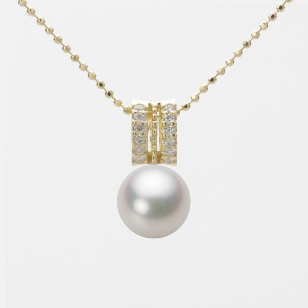 あこや真珠 パール ネックレス 8.0mm アコヤ 真珠 ペンダント K18 イエローゴールド レディース HA00080R12NW01278Y