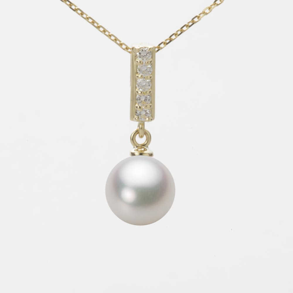 あこや真珠 パール ネックレス 8.0mm アコヤ 真珠 ペンダント K18 イエローゴールド レディース HA00080R12NW0314Y0
