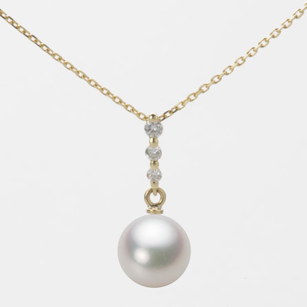 あこや真珠 パール ネックレス 8.0mm アコヤ 真珠 ペンダント K18 イエローゴールド レディース HA00080R12NW0797Y0