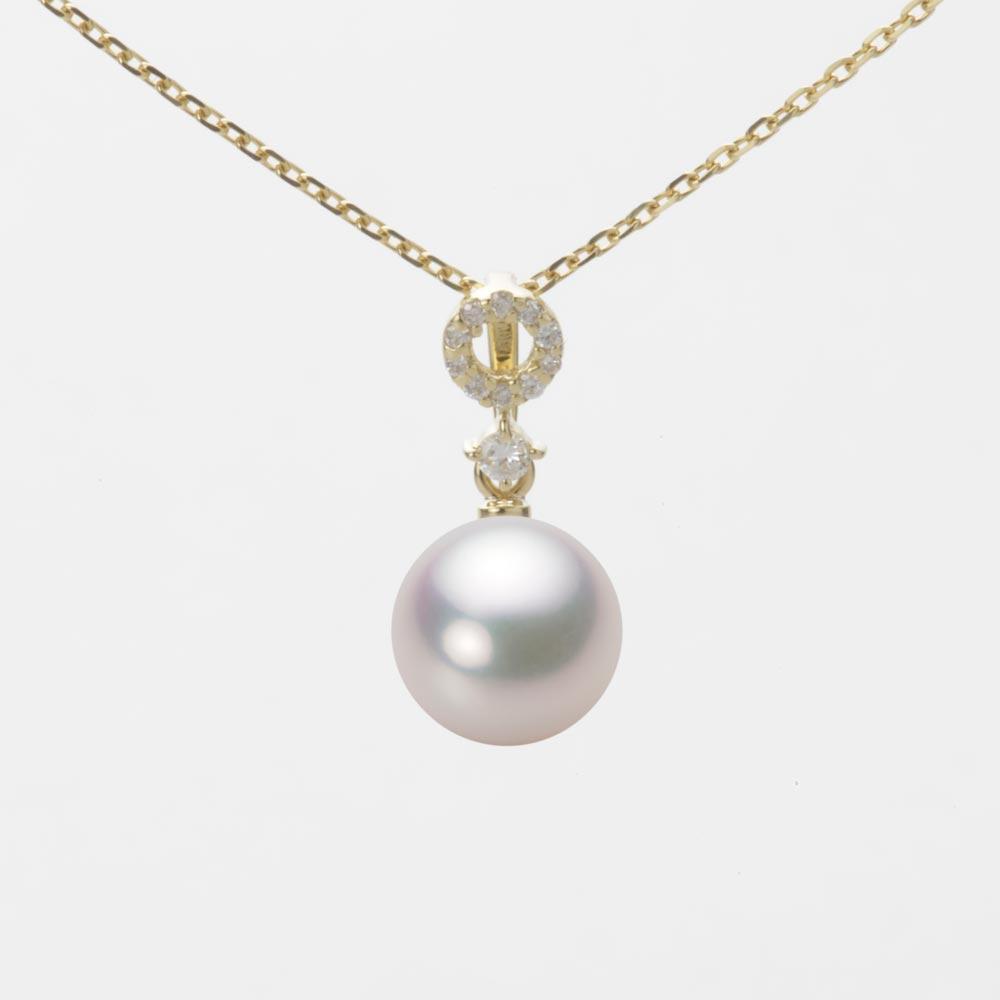 あこや真珠 パール ネックレス 8.0mm アコヤ 真珠 ペンダント K18 イエローゴールド レディース HA00080R12WPG1474Y