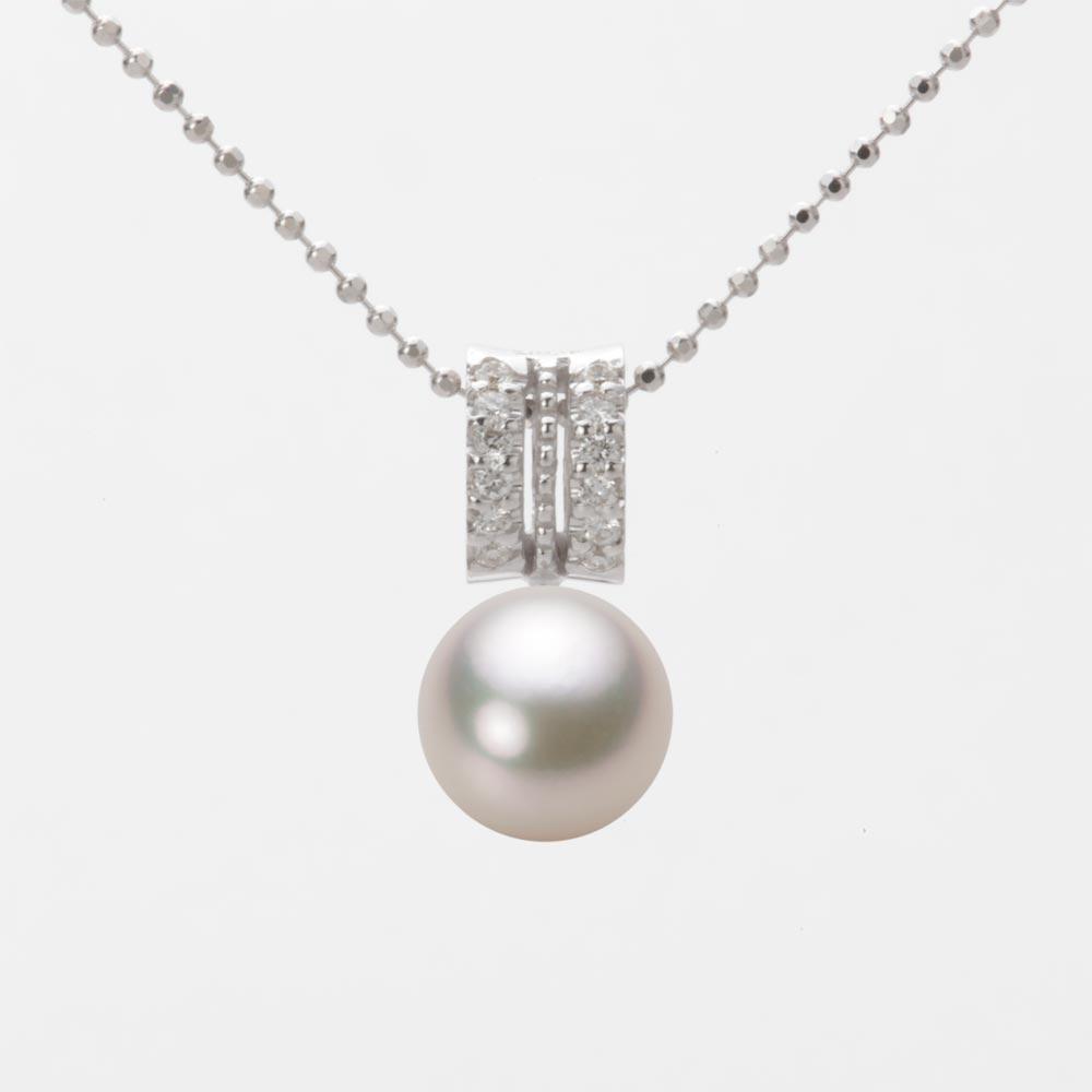 あこや真珠 パール ネックレス 8.0mm アコヤ 真珠 ペンダント K18WG ホワイトゴールド レディース HA00080R13CW01278W