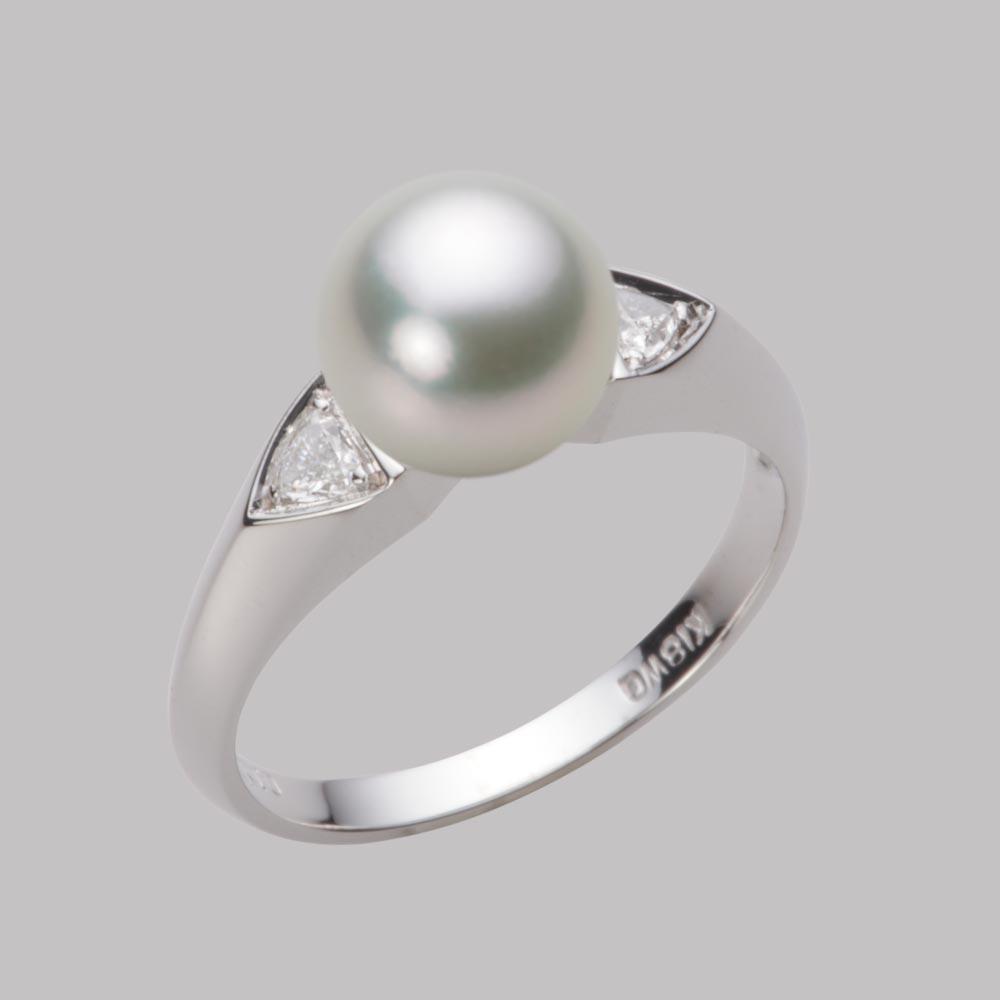 あこや真珠 パール リング 8.0mm アコヤ 真珠 リング K18WG ホワイトゴールド レディース HA00080R13SG0D01W8