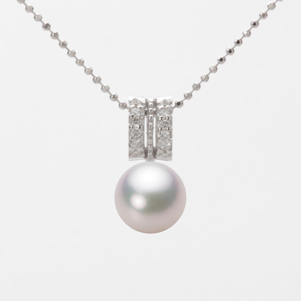 あこや真珠 パール ネックレス 8.0mm アコヤ 真珠 ペンダント K18WG ホワイトゴールド レディース HA00080R13WPG1278W