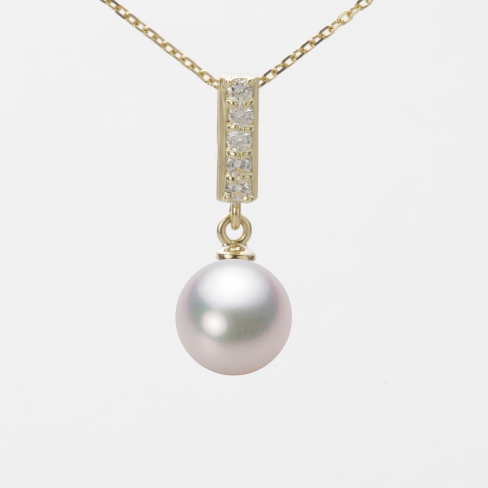 あこや真珠 パール ネックレス 8.0mm アコヤ 真珠 ペンダント K18 イエローゴールド レディース HA00080R13WPG314Y0