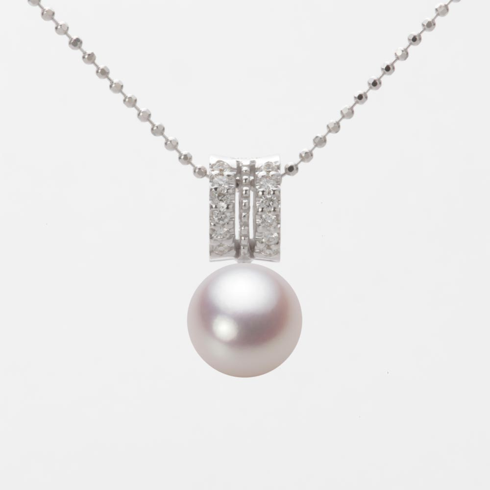 あこや真珠 パール ネックレス 8.0mm アコヤ 真珠 ペンダント K18WG ホワイトゴールド レディース HA00080R13WPN1278W