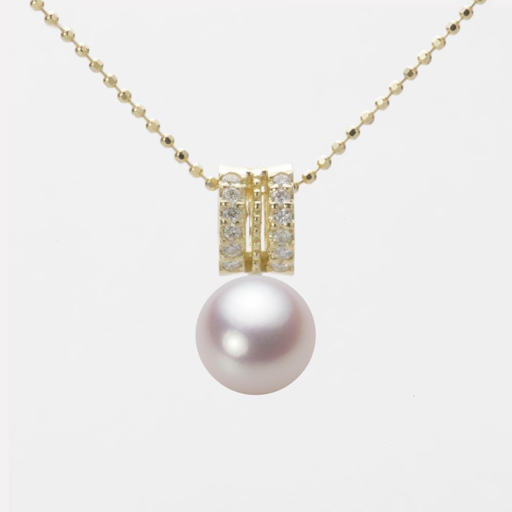 あこや真珠 パール ネックレス 8.0mm アコヤ 真珠 ペンダント K18 イエローゴールド レディース HA00080R13WPN1278Y