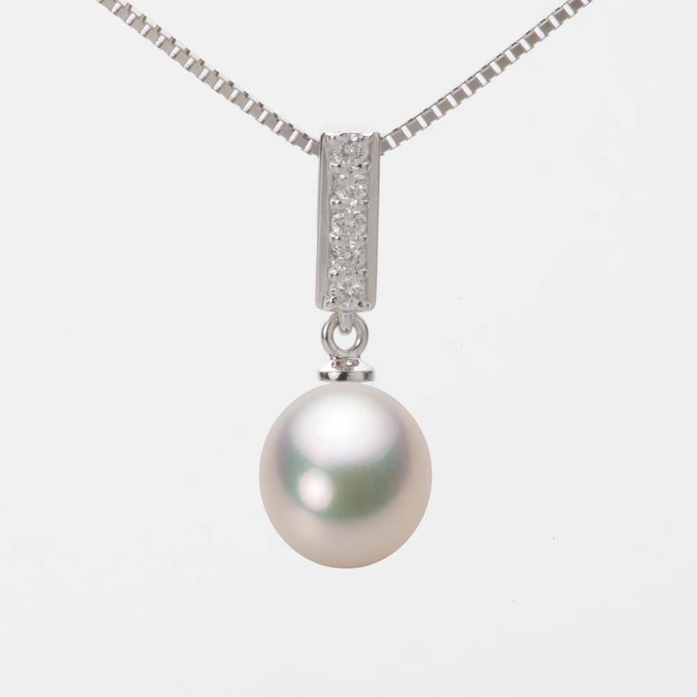 あこや真珠 パール ネックレス 8.5mm アコヤ 真珠 ペンダント K18WG ホワイトゴールド レディース HA00085D11CW0314W0