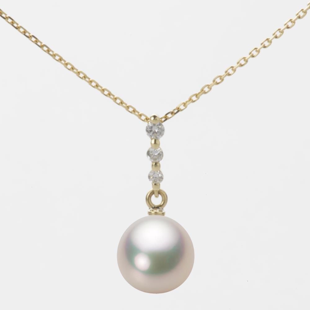 あこや真珠 パール ネックレス 8.5mm アコヤ 真珠 ペンダント K18 イエローゴールド レディース HA00085D11CW0797Y0