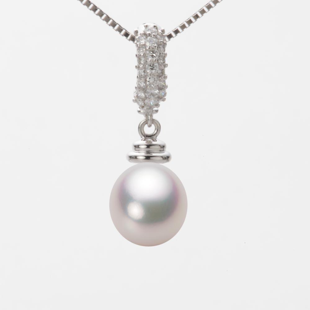 あこや真珠 パール ネックレス 8.5mm アコヤ 真珠 ペンダント K18WG ホワイトゴールド レディース HA00085D11WPG115W0