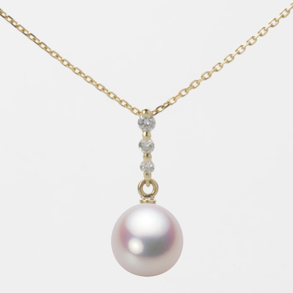 あこや真珠 パール ネックレス 8.5mm アコヤ 真珠 ペンダント K18 イエローゴールド レディース HA00085D11WPN797Y0