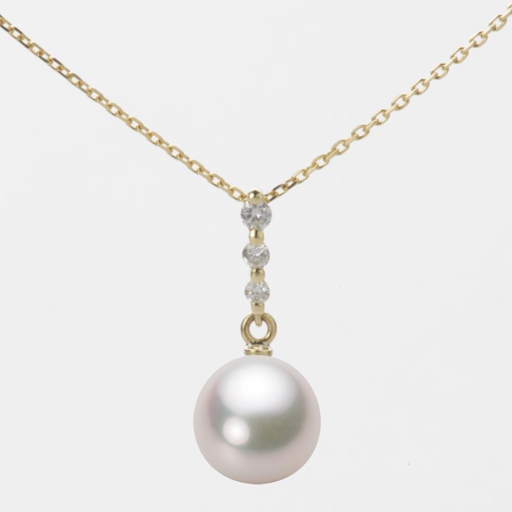 あこや真珠 パール ネックレス 8.5mm アコヤ 真珠 ペンダント K18 イエローゴールド レディース HA00085D12WPG797Y0