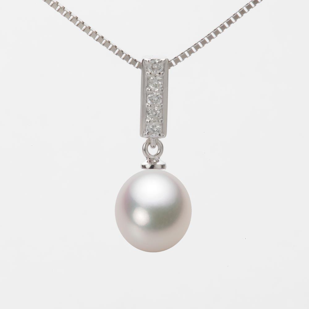 あこや真珠 パール ネックレス 8.5mm アコヤ 真珠 ペンダント K18WG ホワイトゴールド レディース HA00085D13WPG314W0