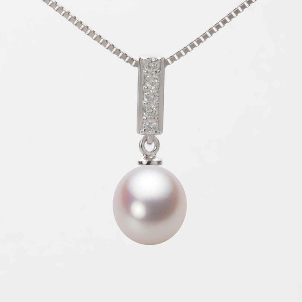 あこや真珠 パール ネックレス 8.5mm アコヤ 真珠 ペンダント K18WG ホワイトゴールド レディース HA00085D13WPN314W0