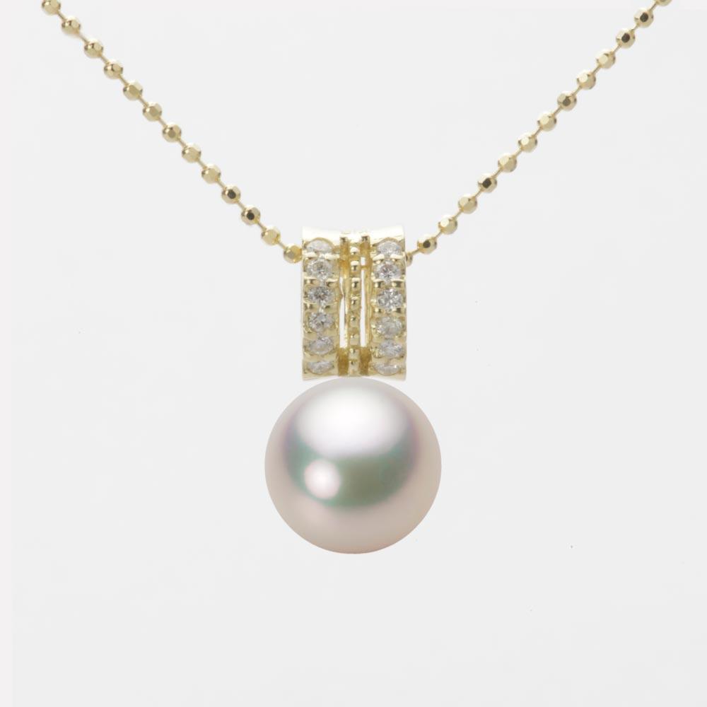 あこや真珠 パール ネックレス 8.5mm アコヤ 真珠 ペンダント K18 イエローゴールド レディース HA00085R11CW01278Y