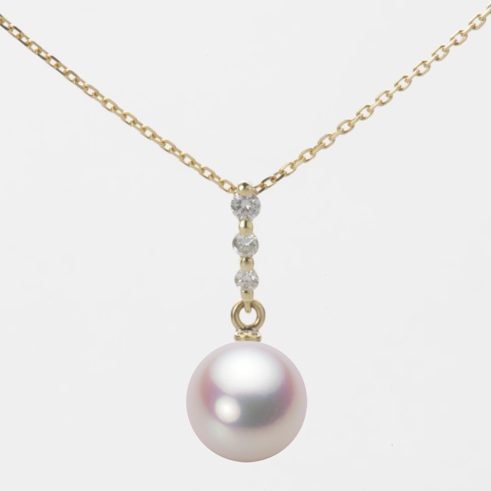 あこや真珠 パール ネックレス 8.5mm アコヤ 真珠 ペンダント K18 イエローゴールド レディース HA00085R11WPN797Y0