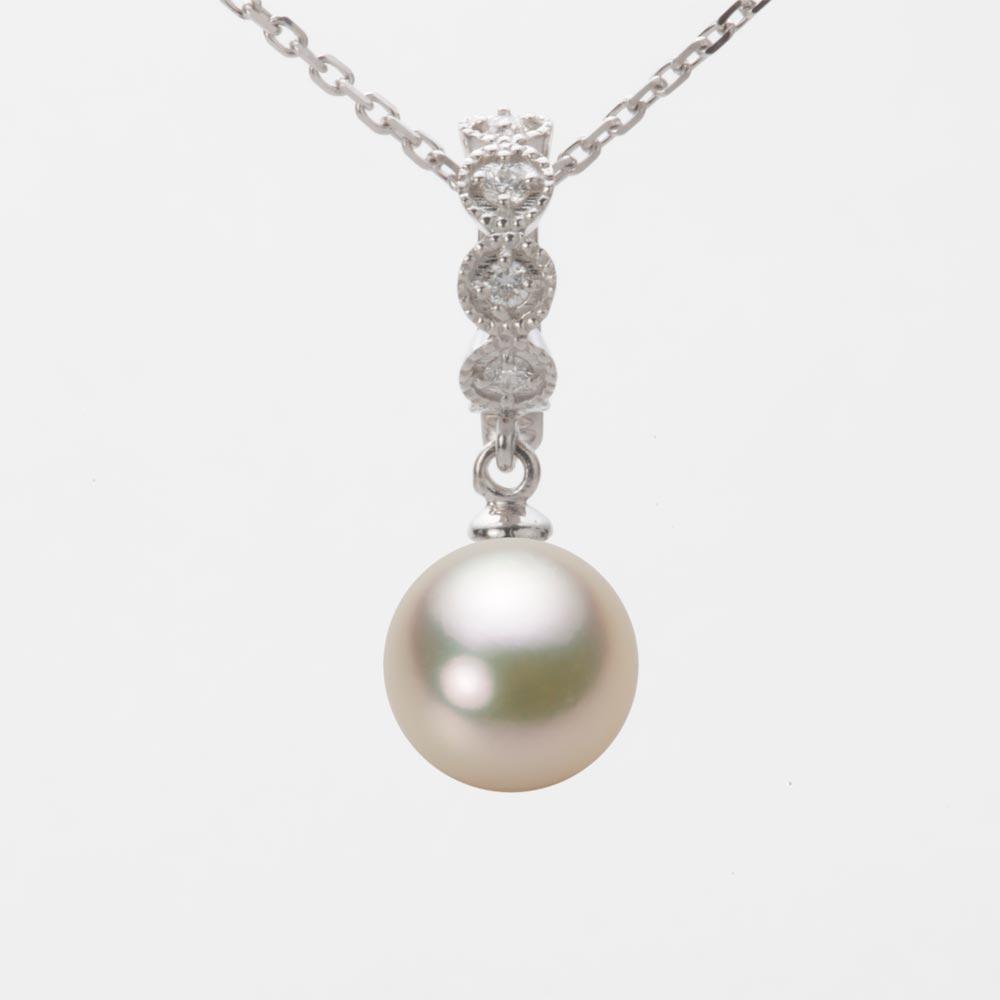 あこや真珠 パール ネックレス 8.5mm アコヤ 真珠 ペンダント K18WG ホワイトゴールド レディース HA00085R12CG0290W0