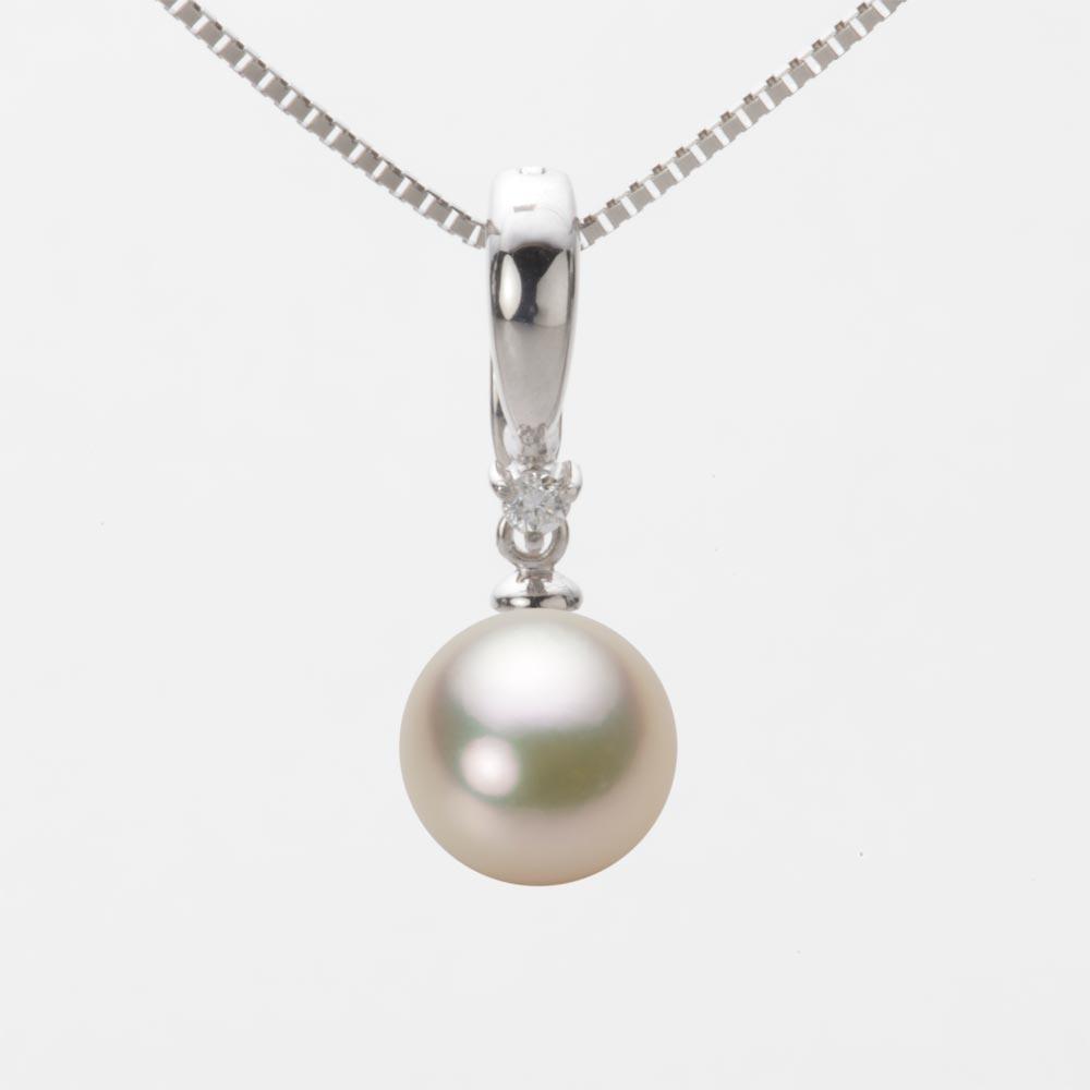 あこや真珠 パール ネックレス 8.5mm アコヤ 真珠 ペンダント K18WG ホワイトゴールド レディース HA00085R12CG0334W0