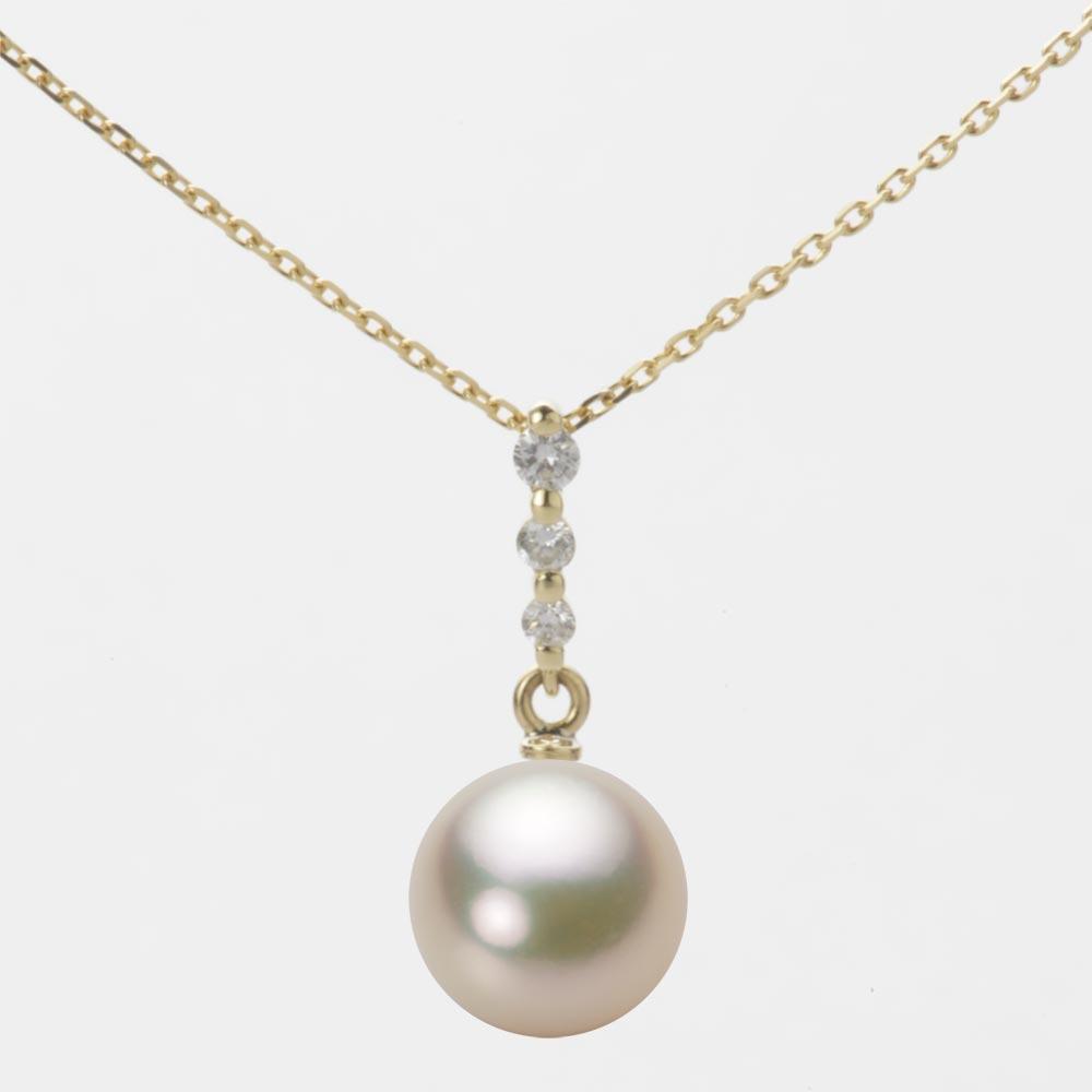 あこや真珠 パール ネックレス 8.5mm アコヤ 真珠 ペンダント K18 イエローゴールド レディース HA00085R12CG0797Y0