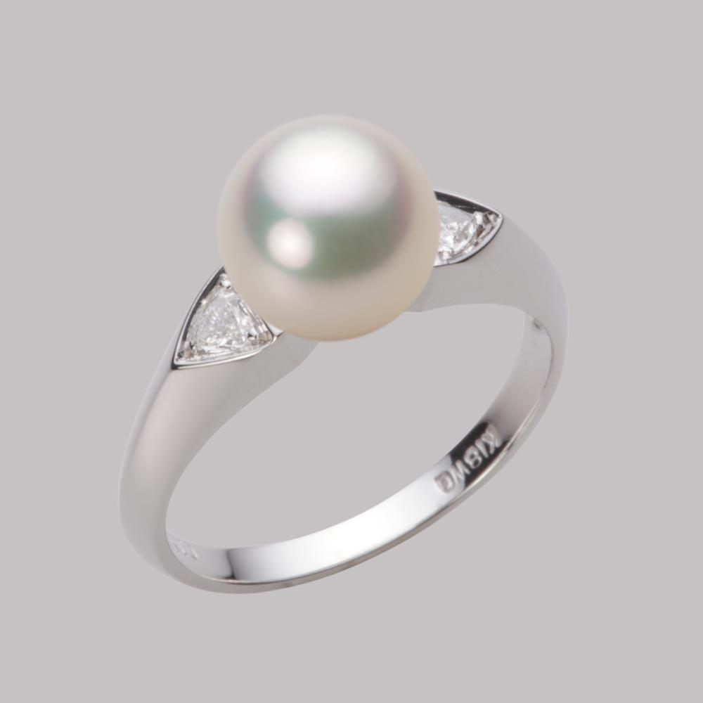 あこや真珠 パール リング 8.5mm アコヤ 真珠 リング K18WG ホワイトゴールド レディース HA00085R12CW0D01W8