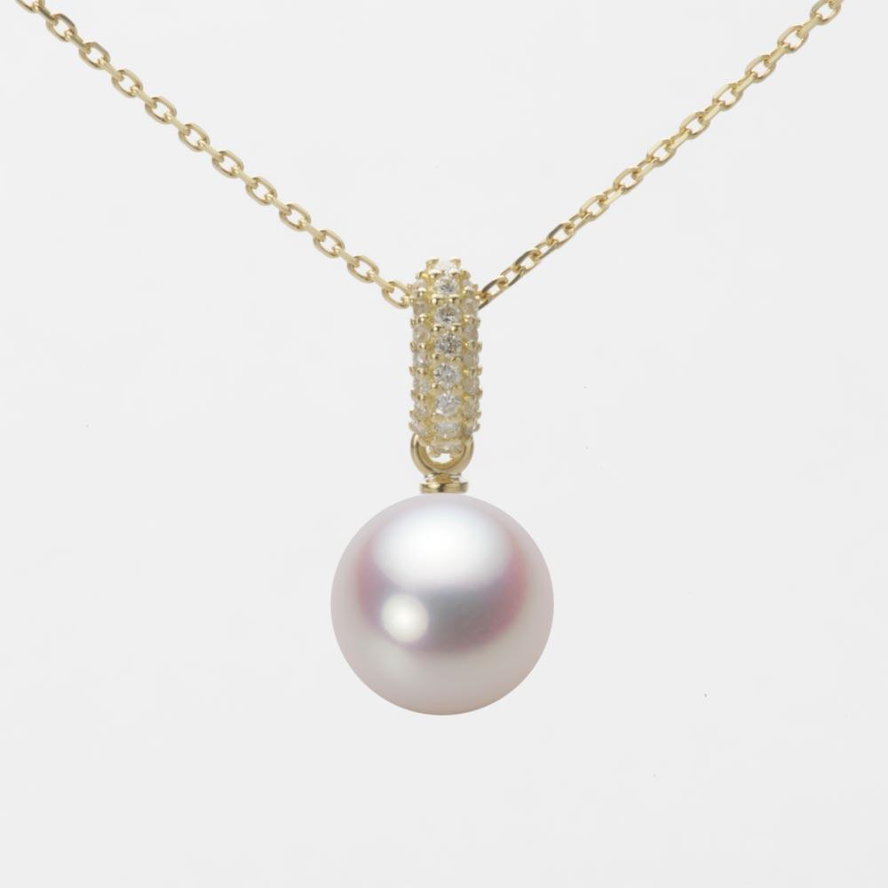 あこや真珠 パール ネックレス 8.5mm アコヤ 真珠 ペンダント K18 イエローゴールド レディース HA00085R12WPN1489Y