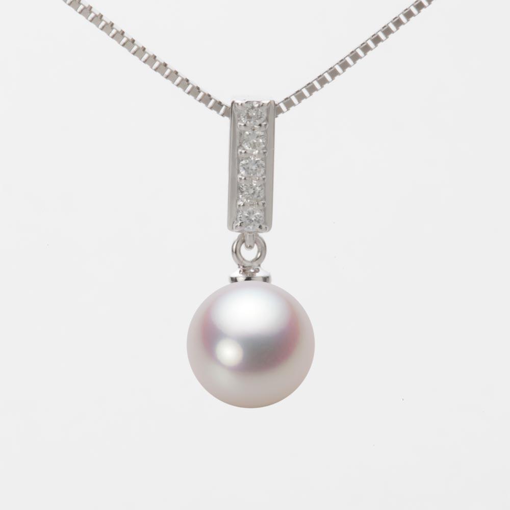 あこや真珠 パール ネックレス 8.5mm アコヤ 真珠 ペンダント K18WG ホワイトゴールド レディース HA00085R12WPN314W0