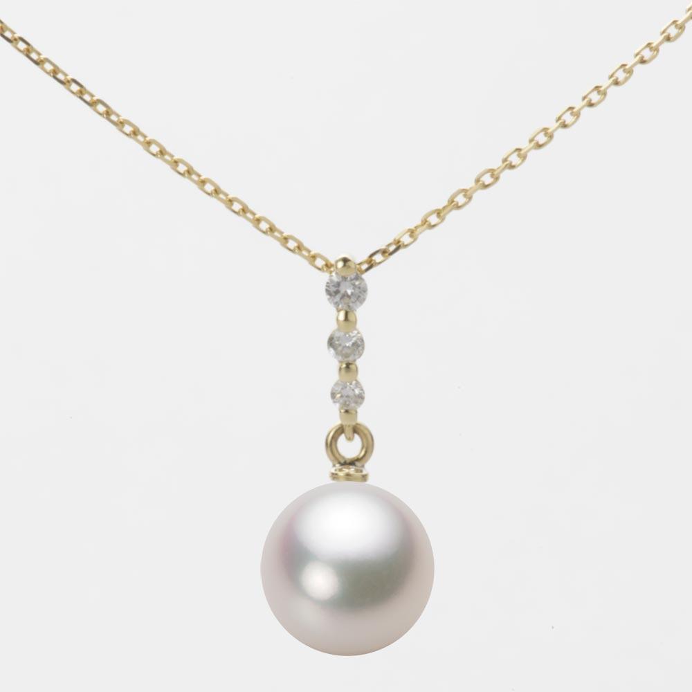 あこや真珠 パール ネックレス 8.5mm アコヤ 真珠 ペンダント K18 イエローゴールド レディース HA00085R13WPG797Y0