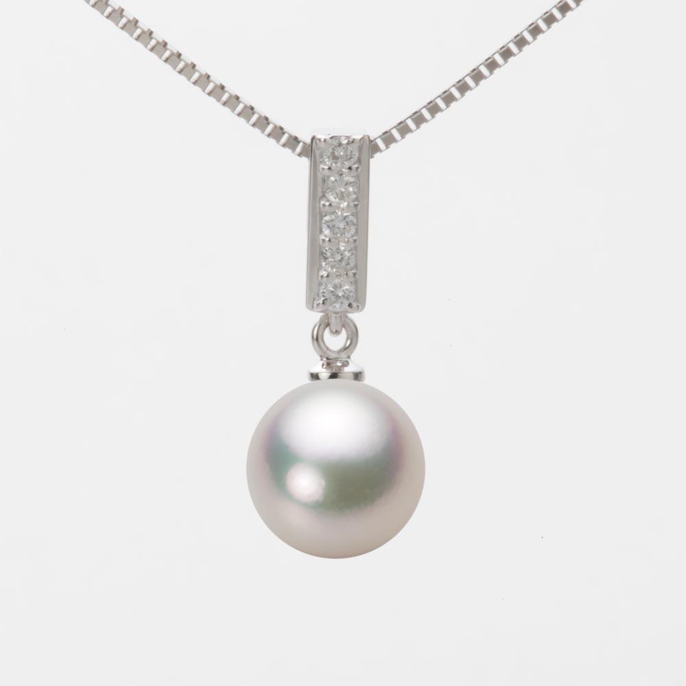 あこや真珠 パール ネックレス 9.0mm アコヤ 真珠 ペンダント K18WG ホワイトゴールド レディース HA00090R11CW0314W0