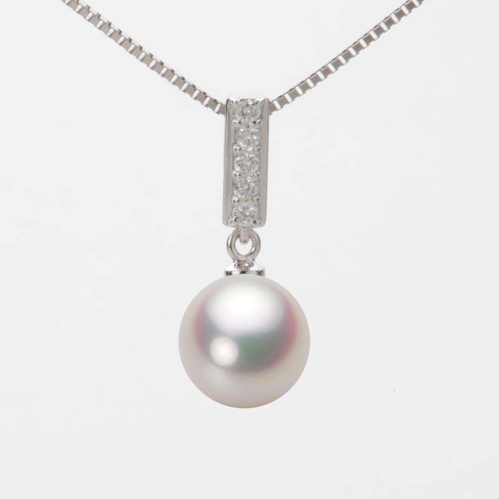 あこや真珠 パール ネックレス 9.0mm アコヤ 真珠 ペンダント K18WG ホワイトゴールド レディース HA00090R11WPG314W0