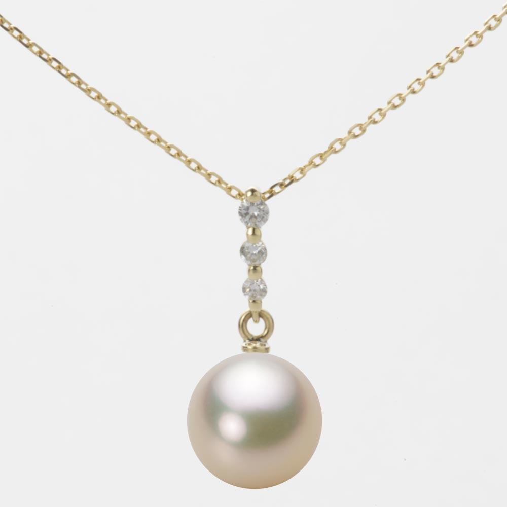 あこや真珠 パール ネックレス 9.0mm アコヤ 真珠 ペンダント K18 イエローゴールド レディース HA00090R12CG0797Y0