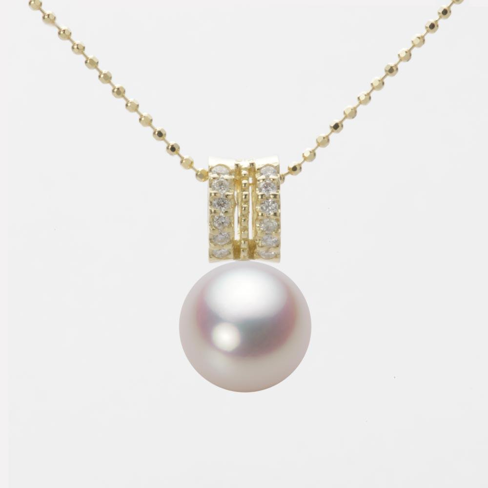 あこや真珠 パール ネックレス 9.0mm アコヤ 真珠 ペンダント K18 イエローゴールド レディース HA00090R12WPN1278Y