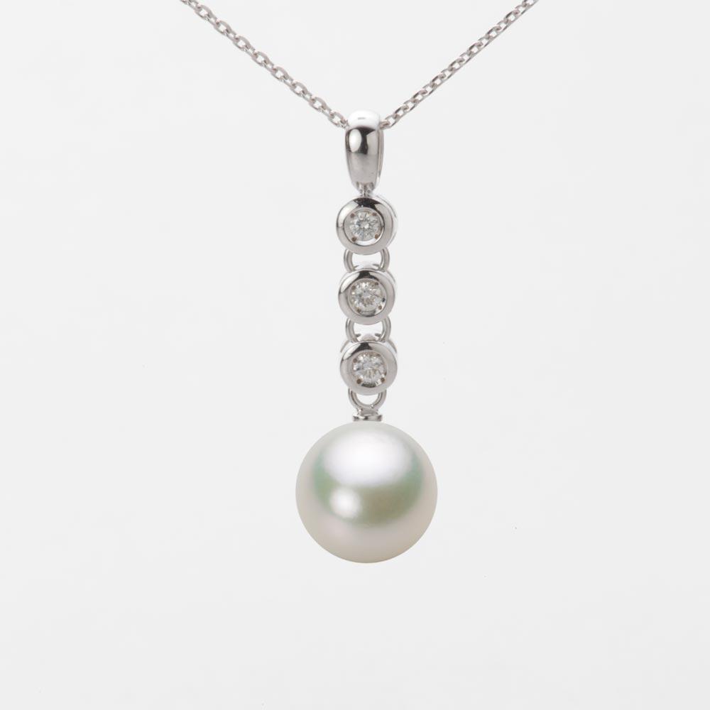 あこや真珠 パール ネックレス 9.0mm アコヤ 真珠 ペンダント K18WG ホワイトゴールド レディース HA00090R13NW0789W0