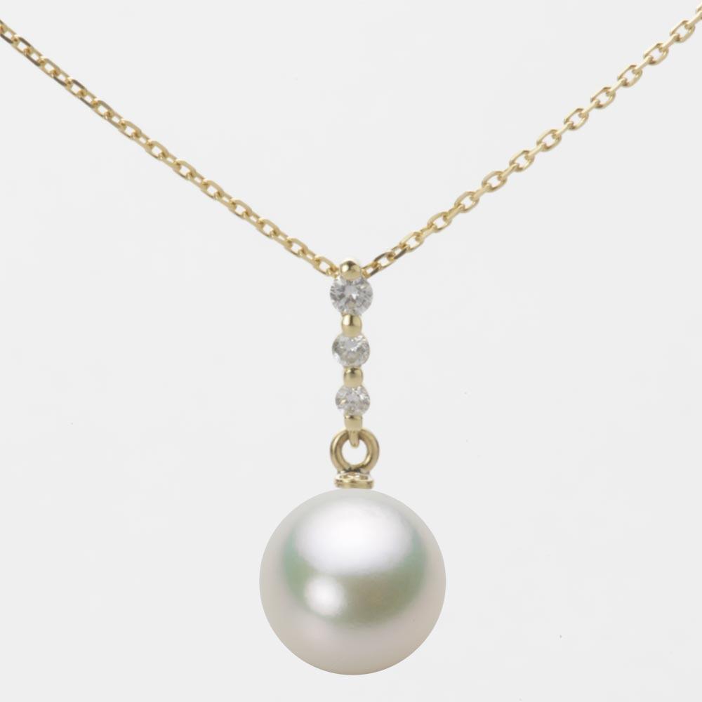 あこや真珠 パール ネックレス 9.0mm アコヤ 真珠 ペンダント K18 イエローゴールド レディース HA00090R13NW0797Y0