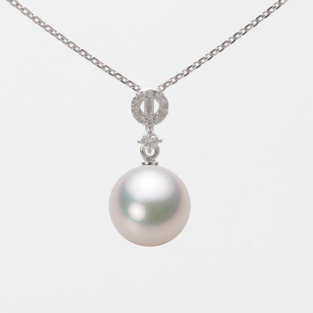 あこや真珠 パール ネックレス 9.0mm アコヤ 真珠 ペンダント K18WG ホワイトゴールド レディース HA00090R13WPG1474W