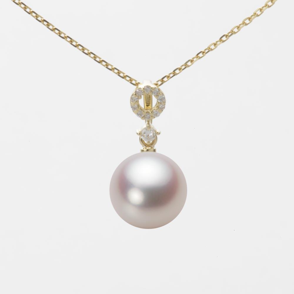 あこや真珠 パール ネックレス 9.0mm アコヤ 真珠 ペンダント K18 イエローゴールド レディース HA00090R13WPN1474Y