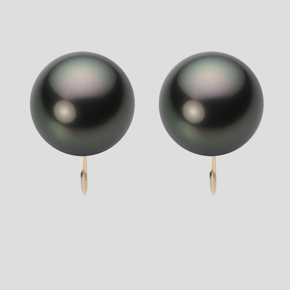 パール イヤリング 12mm 黒蝶 真珠 イヤリング K18 イエローゴールド レディース NB00012R22PC0Y06Y0