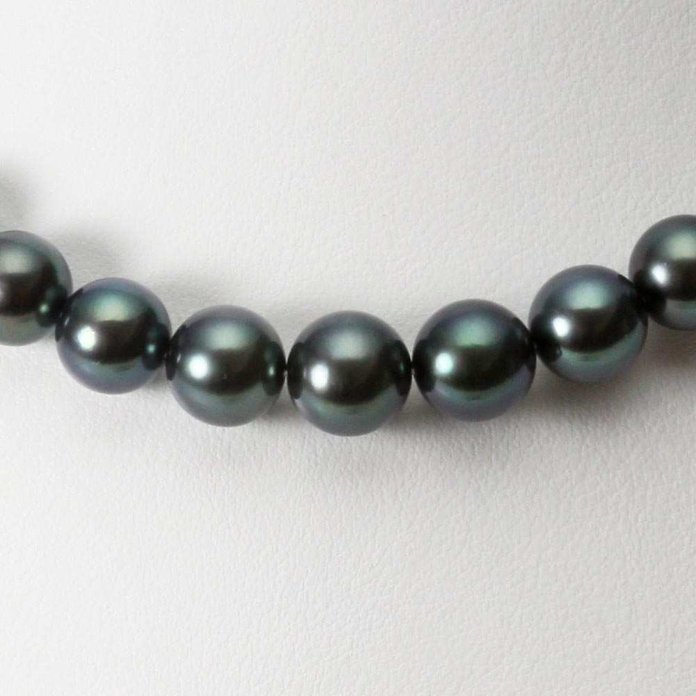 ブラックパール ネックレス 8-10mm 黒蝶 真珠 ネックレス レディース FIN0101GB1008R22DB