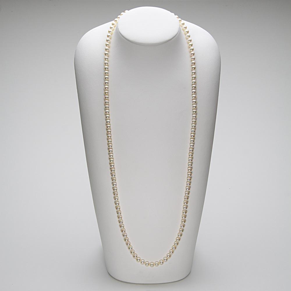 あこや真珠 パール ロング ネックレス 6.5mm アコヤ真珠 80cm セミロング あこや真珠 パールネックレス レディース FIN0102CA0065CGR33