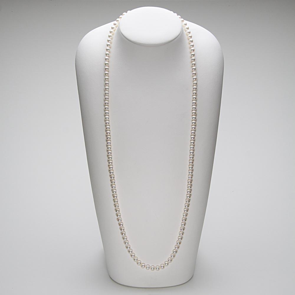 あこや真珠 パール ロング ネックレス 6.5mm アコヤ真珠 80cm セミロング あこや真珠 パールネックレス レディース FIN0102CA0065WGR33
