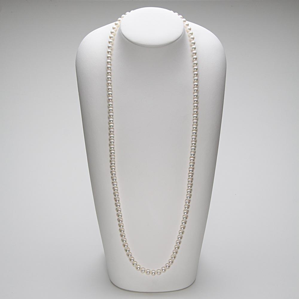 あこや真珠 パール ロング ネックレス 7.0mm アコヤ真珠 80cm セミロング あこや真珠 パールネックレス レディース FIN0102CA0070WGR33