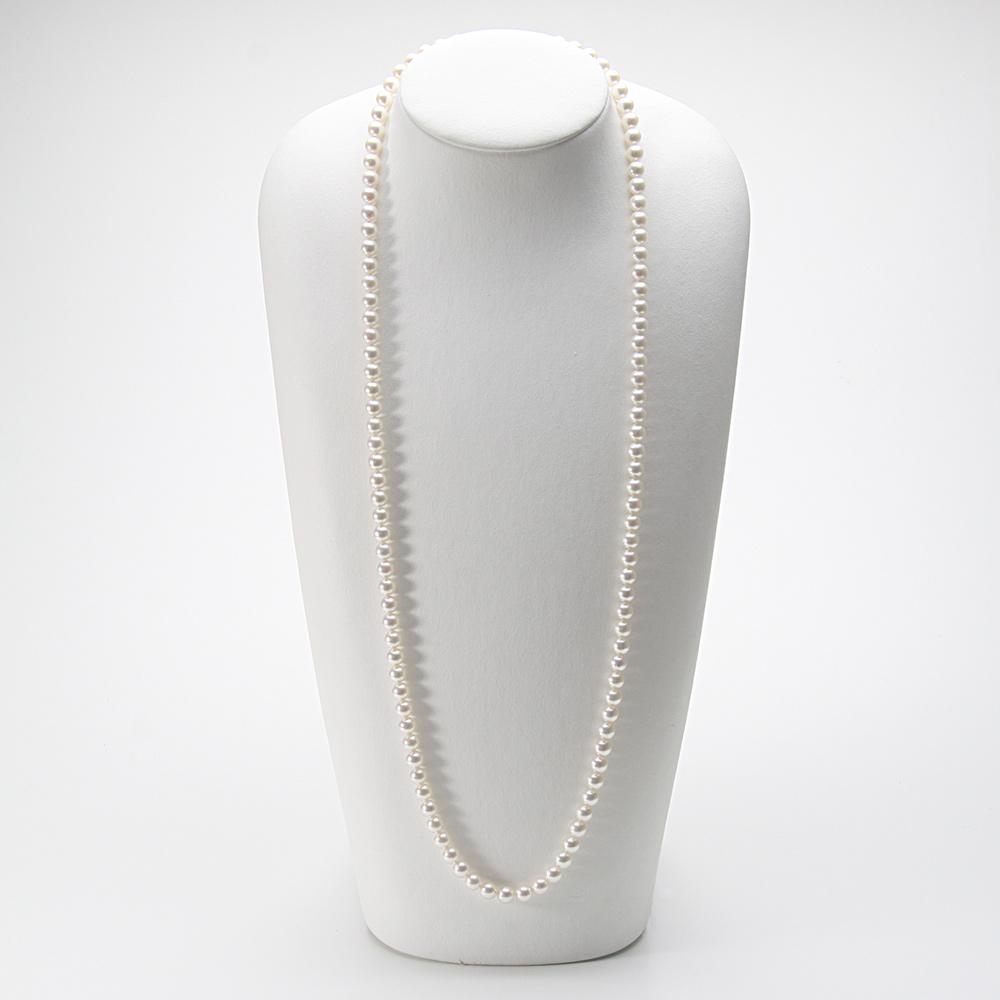 あこや真珠 パール ロング ネックレス 7.0mm アコヤ真珠 80cm セミロング あこや真珠 パールネックレス レディース FIN0102CA0070R33WN