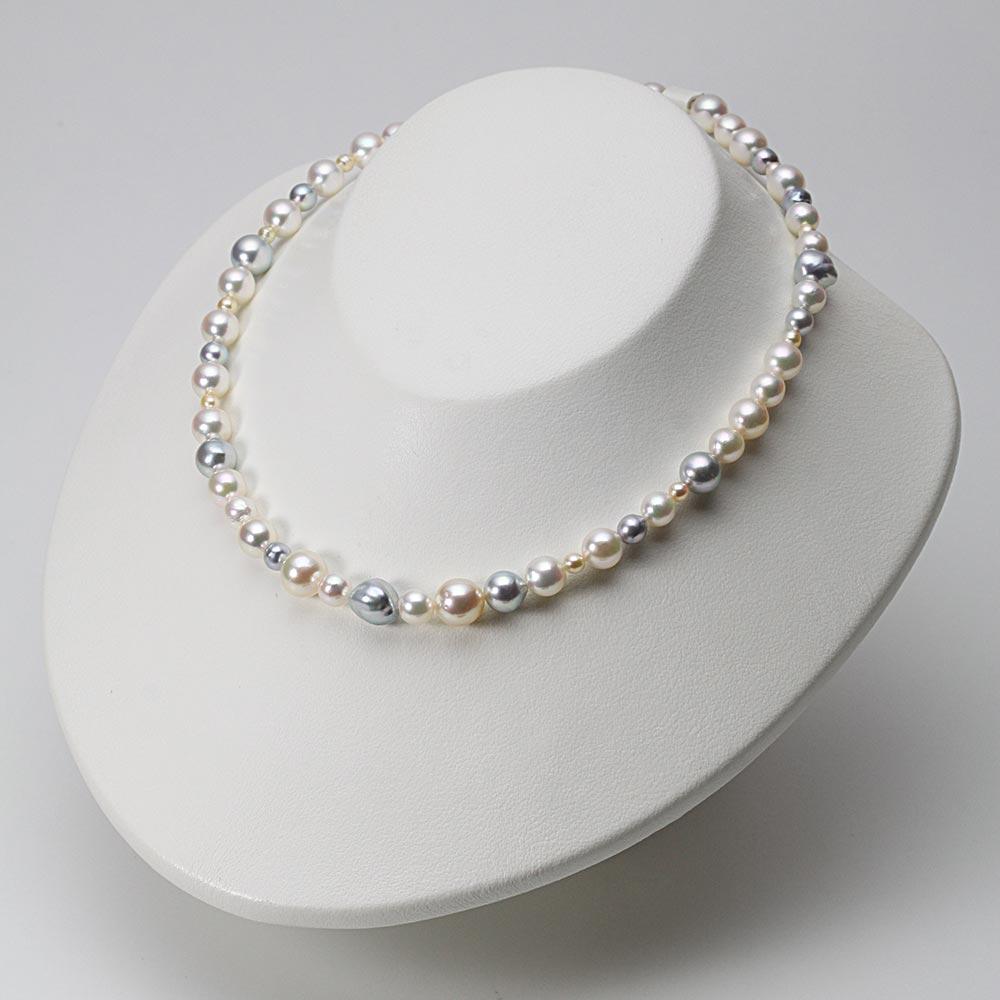 あこや真珠 パール ネックレス 3.5-9.5mm アコヤ真珠 マルチカラー ネックレス レディース FIN0109GA9035MAQ32