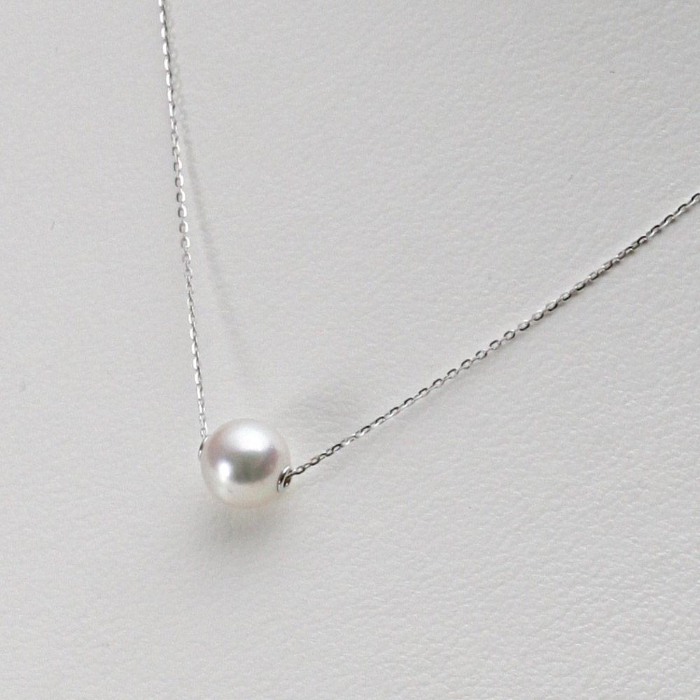 あこや真珠 パール ネックレス 7.5mm アコヤ 真珠 ペンダント K18WG ホワイトゴールド レディース HA00075R33WPGA03WS